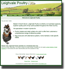 A screenshot of the Leighvale Poultry homepage.